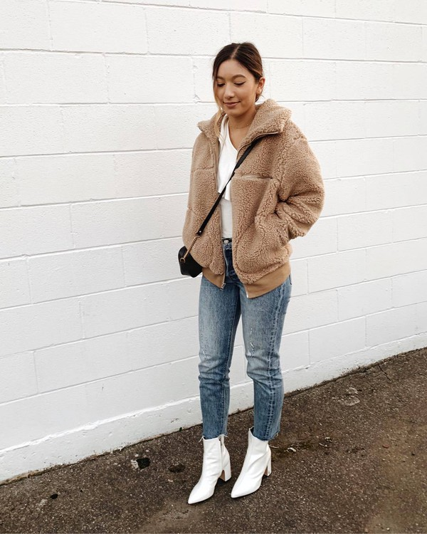 shoes ankle boots white boots jeans cropped jeans coat faux fur coat white t-shirt crossbody bag