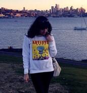 sweater,spongebob,white,hipster,oversized sweater,graphic tee