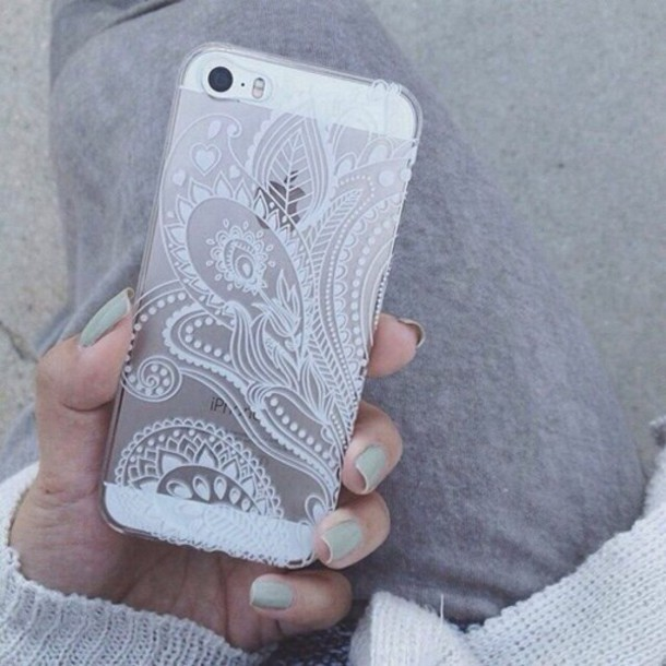 phone cover clear paisley tpu