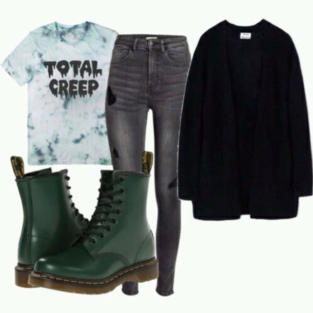 5d7245d00128 shirt total creep black outfit rock green grunge creepy marble DrMartens  tie dye shirt unisex cardigan