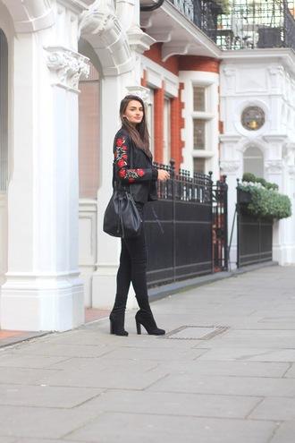 peexo blogger jacket top jeans socks shoes bag bucket bag boots black jacket winter outfits