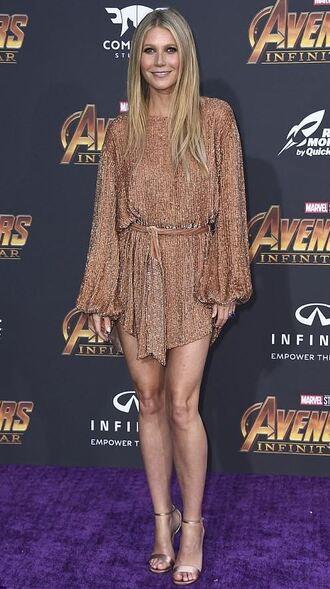 dress mini dress long sleeves gwyneth paltrow party dress metallic glitter glitter dress