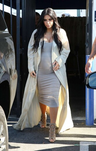 bodycon kim kardashian grey sandals coat two piece dress set