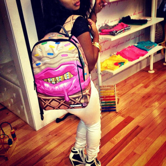 backpack sprayground grillz lipstick sprinkles icecream ice cream bag