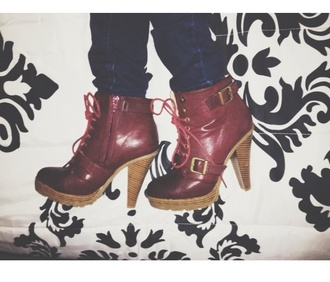 shoes red boots high heels laces hipster