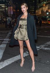 hailey baldwin,short dress,coat,strapless