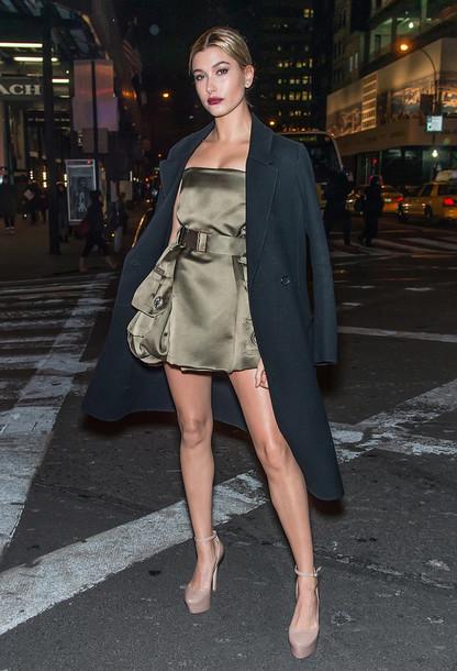 hailey baldwin short dress coat strapless