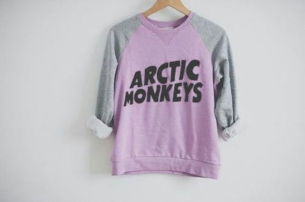 sweater arctic monkeys wanelo shirt arctic monkeys purple & grey yasss other awesome stuff purple sweater grey band t-shirt blouse pink grey sweatshirt purple pullover hoodie rock band t-shirt jumper am