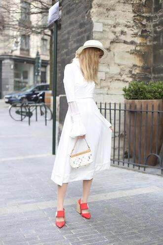 from brussels with love blogger shoes dress bag hat shirt louis vuitton bag white dress