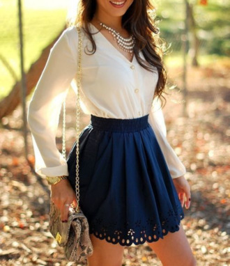 skirt blue blouse mini flow flowy dark blue cobalt cut-out short necklace white billowy purse gold lace button up flowers stencil beautiful summer spring shirt ivory