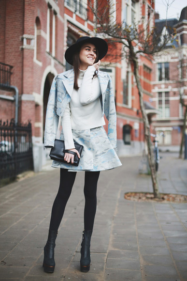 style scrapbook skirt jacket sweater shoes bag tights hat