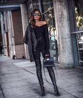 fashionedchic,blogger,sweater,jacket,jeans,shoes,belt,bag,jewels,fall outfits,all black everything,black boots,black sweater,thigh high boots,leather jacket