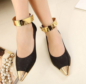 Leisure Ankle Strap Metal Pointed Toe Slip On Flat Shoes - Black e042319c45df