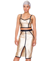 skirt,bustier,black and gold,midi skirt,set,two-piece