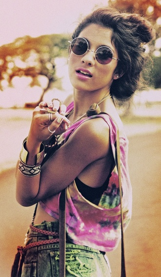 shirt tie dye rainbow sunglasses shorts bohemian festival jewelry crop tops jewels