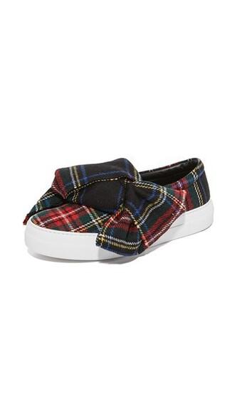 bow sneakers blue tartan shoes
