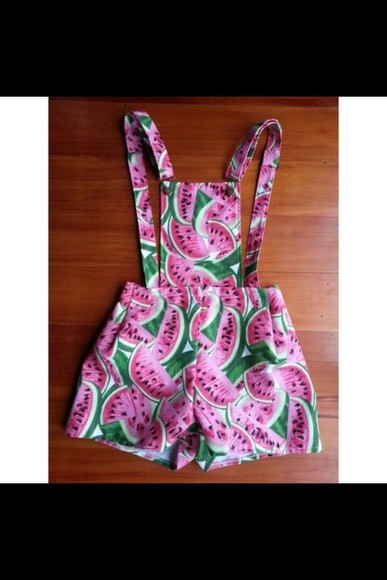 green cute pink shorts playsuit romper dungarees watermelon print printed dungarees colourful