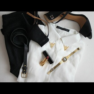 shoes black zara gold watch white belt jeans jewels shirt