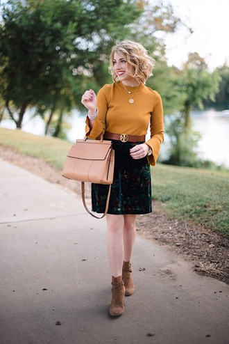 something delightful blogger sweater skirt belt bag jewels shoes fall outfits fall colors bell sleeve sweater handbag ankle boots