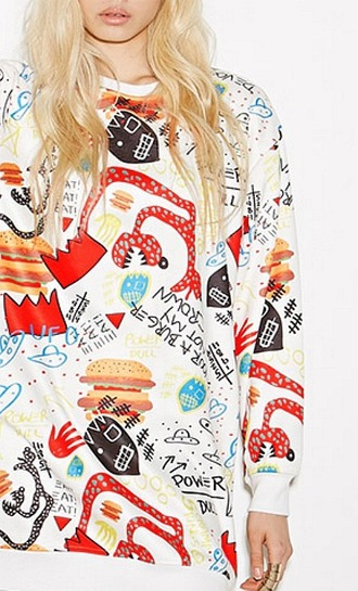 sweater food doodle trendy statement