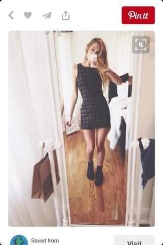 dress mini dress plaid grunge black dress black pale grunge pale