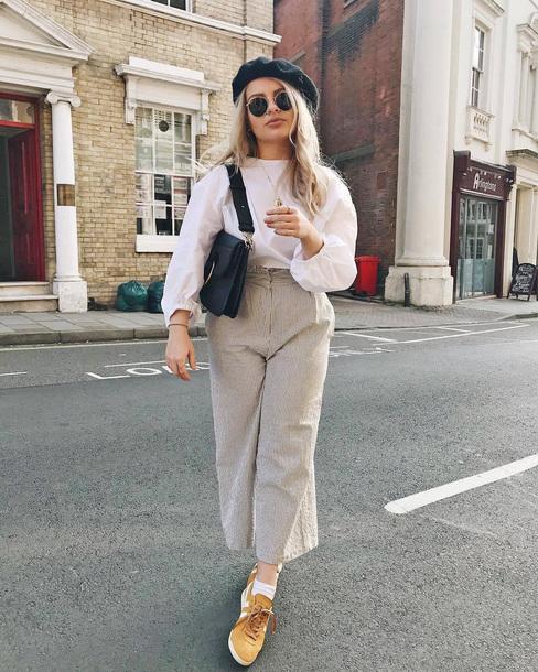pants tumblr stripes striped pants nude pants sneakers blouse white blouse bag beret sunglasses