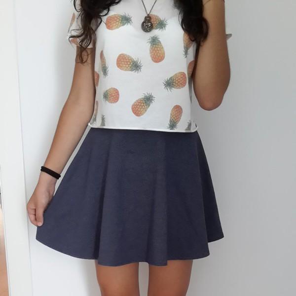 pineapple print pineapple pineapple shirt skirt blue skirt orange green barcelona happy skater skirt