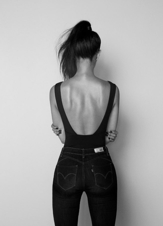 jeans top denim black and white tank top black tumblr backless bodysuit singlet leotard sexy shirt swimwear blouse black top backless top sexy black top black top and bottoms black jeans black high waisted pants black shirt