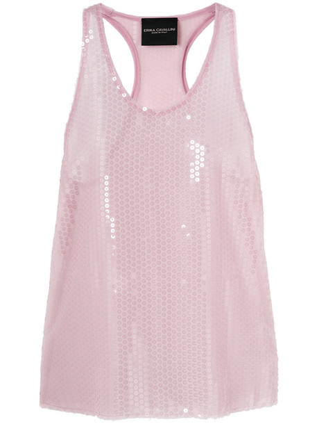 Erika Cavallini - sequin embellished tank top - women - Polyester - 40, Pink/Purple, Polyester