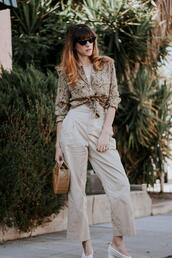 jeans and a teacup,blogger,blouse,pants,shoes,bag,sunglasses,jewels,cult gaia bag,pumps,summer outfits