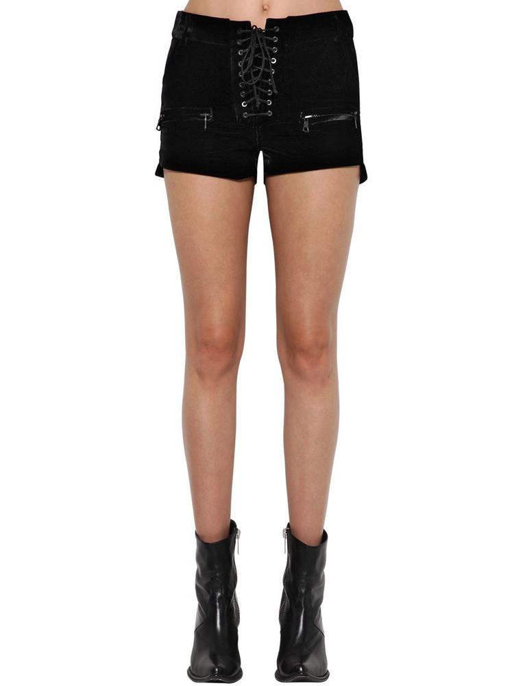 UNRAVEL Velvet Lace Up Shorts in black