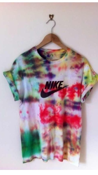 t-shirt tee-shirt tee tye dye shirt tyedye tye dye colorful galaxy cute top nike running shoes nike shoes nike sneakers nike air