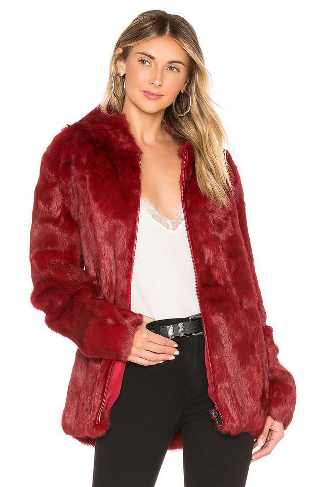 Adrienne Landau Rabbit Hooded Jacket in red