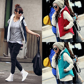 coat,thickening,women,spring,winter coat,cotton,vest,clip,hooded,hoodie,jacket,short coat,showy4you,showy