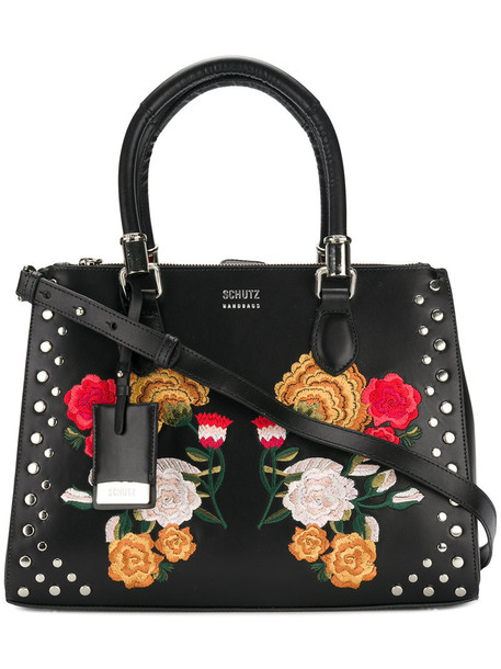 embroidered women floral leather cotton black bag