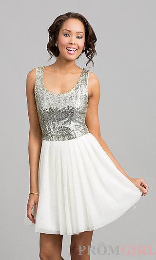 Short Dress with Sequin Top, Sequin Dresses- PromGirl