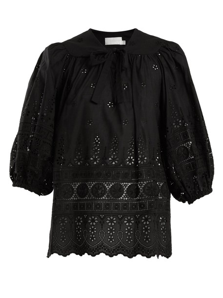 Zimmermann top embroidered cotton black