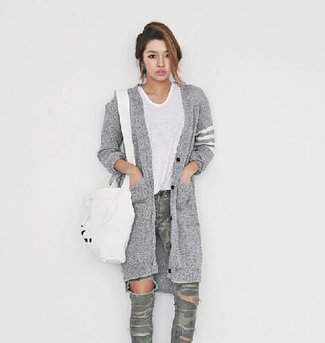 Gray stripe sleeve cardigan from doublelw on storenvy