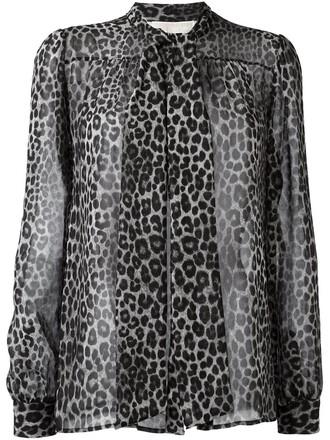 blouse women print black leopard print top