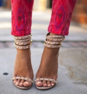 shoes,studded sandals,high heels,nude sandals,gold studs,sexy,sandals,beige,spikes,gold,cute high heels,nude high heels,sandal heels,jeans,printed jeans,pink jeans,studded heels,heels,nude heels,sparkle,cute,love