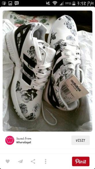 shoes white black print