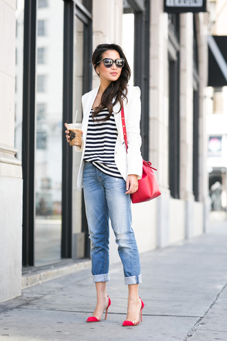 wendy's lookbook blogger jacket red bag red heels striped top boyfriend jeans top bag shoes sunglasses jewels bucket bag white blazer black sunglasses mansur gavriel striped t-shirt wendys lookbook streetstyle