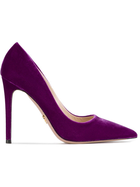 Prada pointed toe pumps women pumps leather velvet purple pink shoes