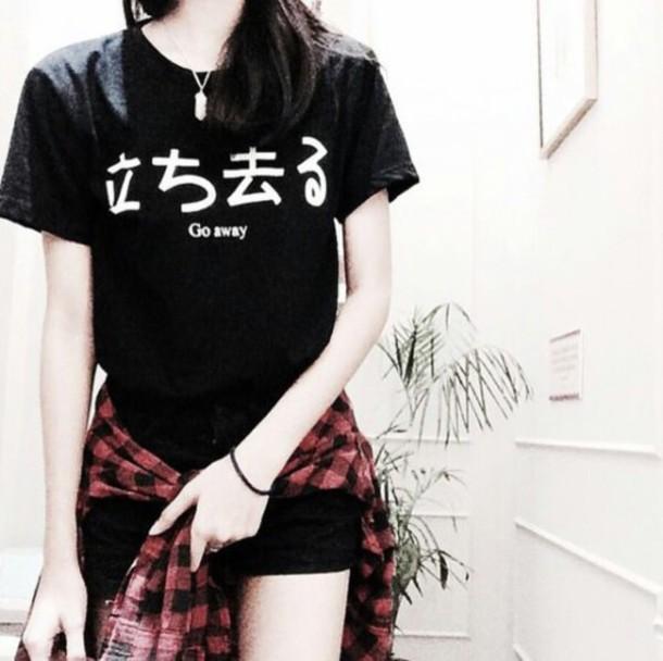 shirt black t-shirt go away chinese blouse characters t-shirt black
