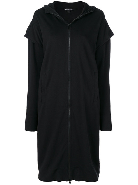 hoodie long women layered cotton black sweater