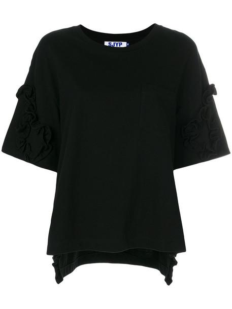 top ruffle women cotton black