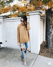 sweater,tumblr,camel,camel sweater,turtleneck,turtleneck sweater,denim,jeans,blue jeans,ripped jeans,boots,grey boots,ankle boots