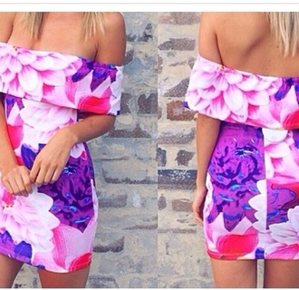 dress off the shoulder dress floral dress floral ruffle mini dress lovethis colorful flowers pink dress pink purle dress purle blonde hair fashion tumblr fashion instagram summer summer dress date dress date outfit outfit style floral off shoulder dress girly outfits tumblr white off the shoulders sweater sexy dress party dress