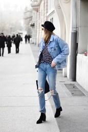 hat,tumblr,fisherman cap,black hat,jacket,blue jacket,denim jacket,denim,boots,black boots,jeans,blue jeans,ripped jeans