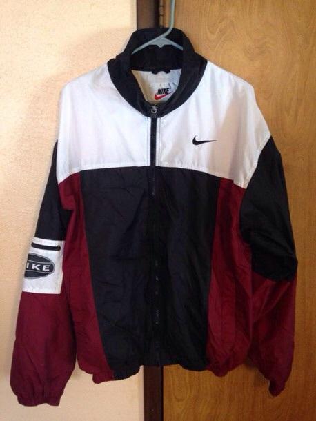 jacket nike vintage dope jacket oversized jacket white black maroon/burgundy